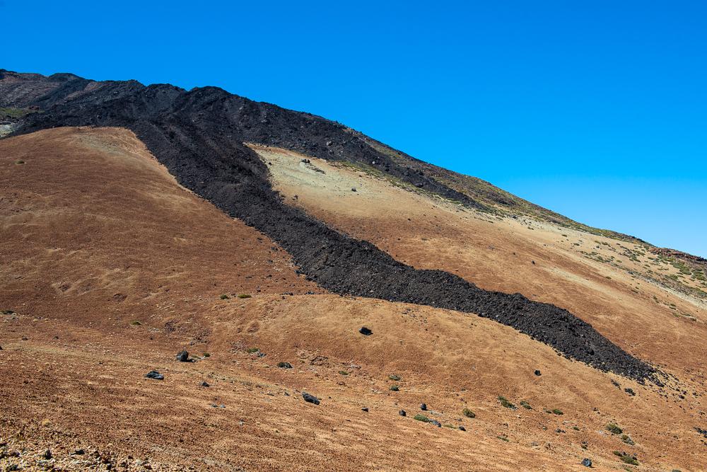 вулкан Тейде, язик лави, сліди виверження